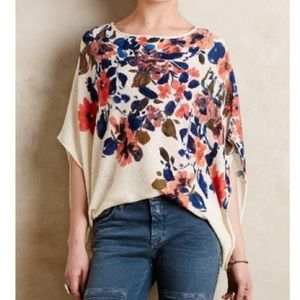 Anthropologie Sz L Floral Poncho Pullover by Moth